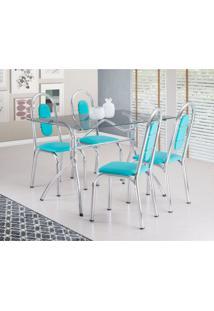 Conjunto De Mesa De Jantar Com 4 Cadeiras Aquila Verde