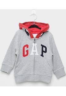 Jaqueta Moletom Infantil Gap Com Capuz Masculino - Masculino-Cinza