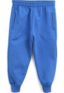 Calça De Moletom Abrange Infantil Lisa Azul