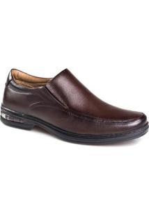 Sapato Social Masculino Rafarillo Couro Elástico Ajustável - Masculino-Marrom