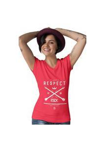 Camiseta Feminina Gola V Ezok Respect Vermelho