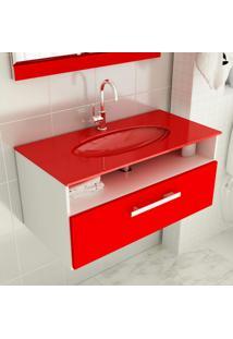 Gabinete 16 Com Pia De Vidro Linea 80 Cm Vermelho