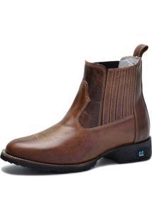 Bota Country Over Boots Bico Redondo Couro Tabaco - Kanui