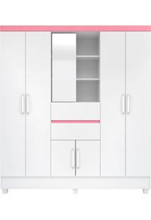 Guarda Roupa Casal 7 Portas Capela Branco/Rosa Demóbile