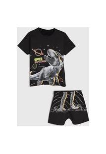 Pijama Elian Curto Infantil Dinossauro Preto