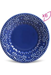 Jogo De Pratos Para Sobremesa Esparta- Azul Escuro- Porto Brasil