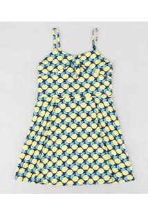 Vestido Infantil Evasê Estampado De Limões Alças Finas Azul Marinho