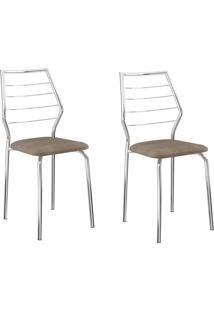 Kit 2 Cadeiras 1716 Camurça Conhaque/Cromado - Carraro Móveis