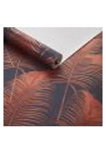 Papel De Parede Importado Texturizado Palmeira Laranja