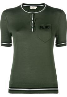Fendi Camisa Polo Mangas Curtas De Seda - Green