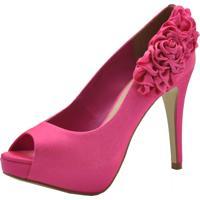 a846fc27f5 Peep Toe Laura Prado Cetim Italiano Pink