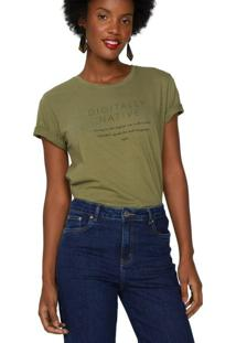 Amaro Feminino T-Shirt Digitally Native, Militar