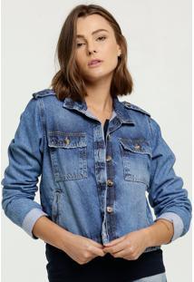 Jaqueta Feminina Jeans Cropped