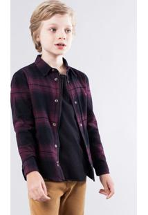 Camisa Mini Pf Overshirt Xadrez Reserva Mini Bordô - Kanui
