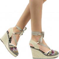 62949905b3 Sandália Zariff Shoes Plataforma Lace Up Crochet