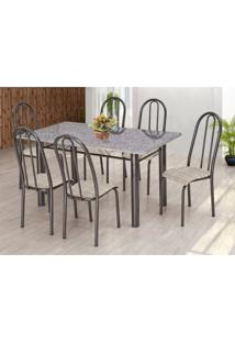 Conjunto De Mesa Com 6 Cadeiras Primavera Preto E Rattan