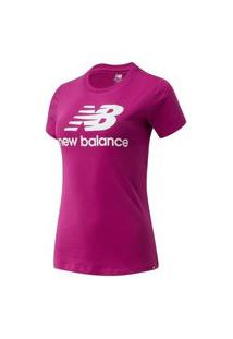 Camiseta New Balance Essetials Stacked Logo Feminino - Rosa