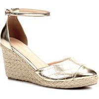 9c38f74820 Sandália Anabela Shoestock Matelassê Corda Feminina - Feminino-Dourado