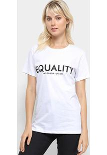 Camiseta Colcci Equality Feminina - Feminino-Branco