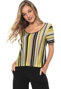 Camiseta Sacada Listrada Amarela