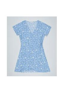 Vestido Juvenil Envelope Estampado Floral Manga Curta Azul Claro