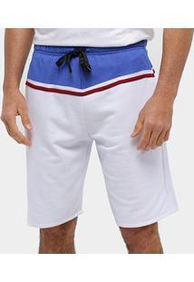 Bermuda Moletom Otn Listra Masculina - Masculino-Branco+Marinho