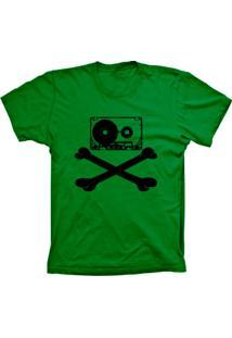 Camiseta Baby Look Lu Geek Fita Caveira Verde