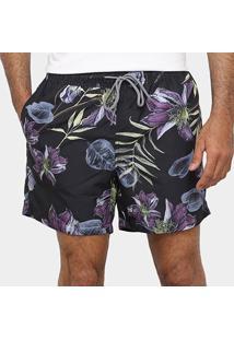 Bermuda Vide Bula Floral Masculina - Masculino-Preto