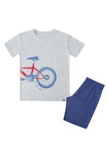 Pijama Curto Manga Curta Infantil Bike Cinza Claro