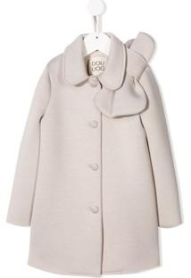 Douuod Kids Button Down Bow Detail Coat - Neutro