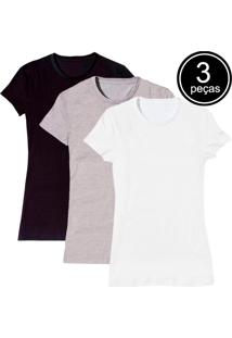 Kit Com 3 Blusas Baby Look Básica Part.B Gola Redonda Colors