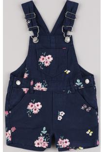 Jardineira De Sarja Infantil Estampada Floral Azul Marinho