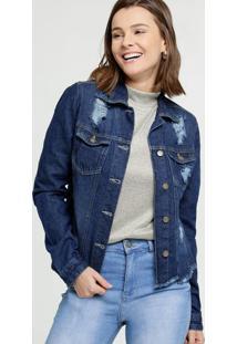 Jaqueta Feminina Jeans Destroyed Barra Desfiada