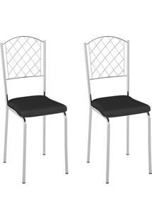 Conjunto Com 2 Cadeiras Susana Preto E Cromado