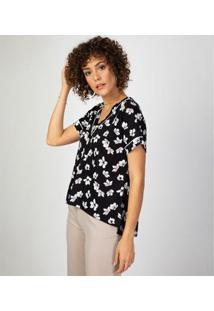 Camiseta Liz Easywear Manga Curta Estampada Feminina - Feminino-Floral