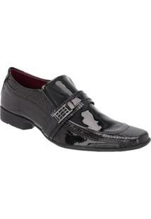 Sapato Social Masculino Verniz Elástico Croco Estilo Moderno - Masculino-Preto