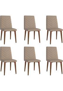 Conjunto Com 6 Cadeiras De Jantar Liv Marrom