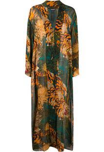 Dsquared2 Kimono Longo Com Estampa De Tigre - Verde
