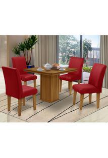 Mesa Para Sala De Jantar Com 4 Cadeiras Saint Thomas – Dobuê Movelaria - Mell / Marsala