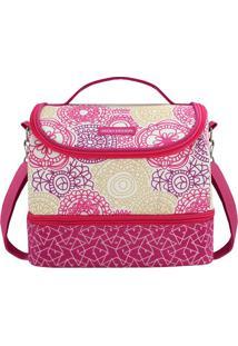 Bolsa Térmica Com Compartimento- Pink & Branca- 23X1Jacki Design