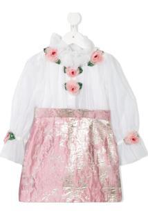 Dolce & Gabbana Kids Vestido Rosa Com Detalhe De Rosa - Branco