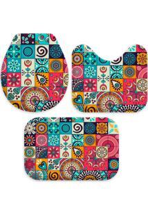 Jogo Tapete Love Decors Para Banheiro Multi Mandalas Multicolorido Único