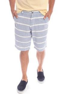 Bermuda Aleatory Sarja Listrada Fun Masculino - Masculino-Azul
