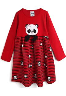 Vestido Elian Panda Vermelho - Tricae