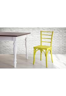 Cadeira De Madeira Country Amarela Torneada Com Encosto E Assento Anatômico Charlotte - 40,5X49X88 Cm