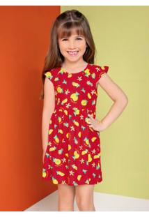 Vestido Infantil Curto Frutas Vermelho Rovitex