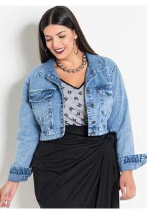 Jaqueta Jeans Claro Plus Size Estampa Costas