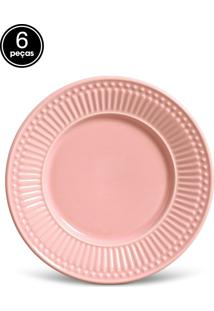 Conjunto De Pratos De Sobremesa Porto Brasil Roma 6Pçs Rosa