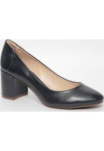 Sapato Em Couro- Azul Marinho- Salto: 6,5Cmcapodarte