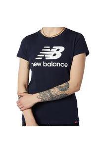 Camiseta New Balance Essetials Stacked Logo Feminino - Preto